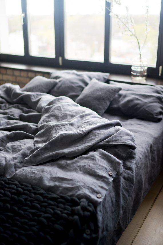 Dark Grey Linen Bedding Set From Stonewashed Softened Linen Grey Linen Bedding Bed Linens Luxury Bed Linen Sets