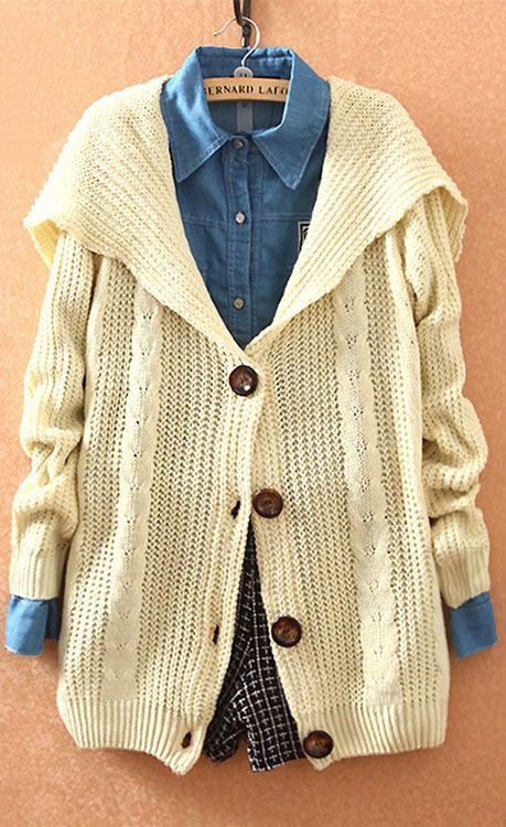 Beige Lapel Long Sleeve Hollow Cardigan Sweater