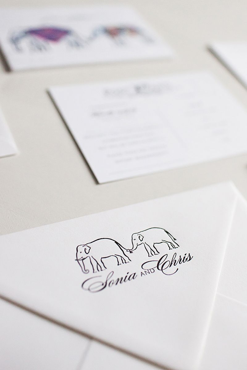 Indian Scottish Wedding Elephant Letterpress wedding invites www ...