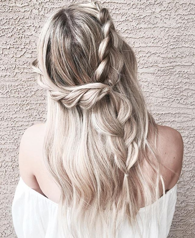Braid + half up half down hairstyle