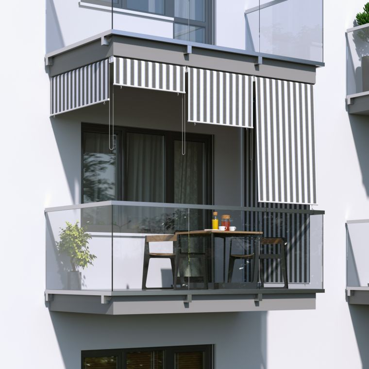 Jarolift Aussenrollo Balkon Senkrechtmarkise 140 X 240cm Grau