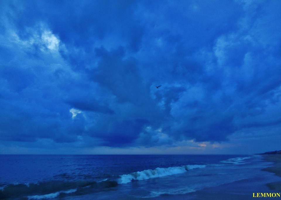 OBX. Beautiful blue thunderheads. 6/12/2014 Hatteras island. From Facebook- Outer Banks NC Local Artists Page. Lemmon