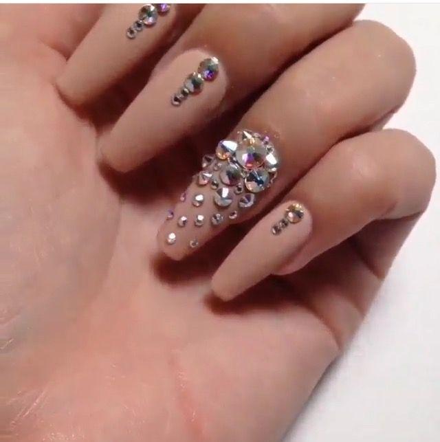 Nude Coffin Rhinestones Nails Nails Rhinestone