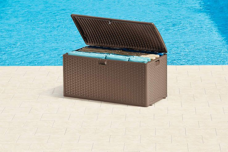 Brown Resin Wicker Outdoor Storage Box | Big Lots