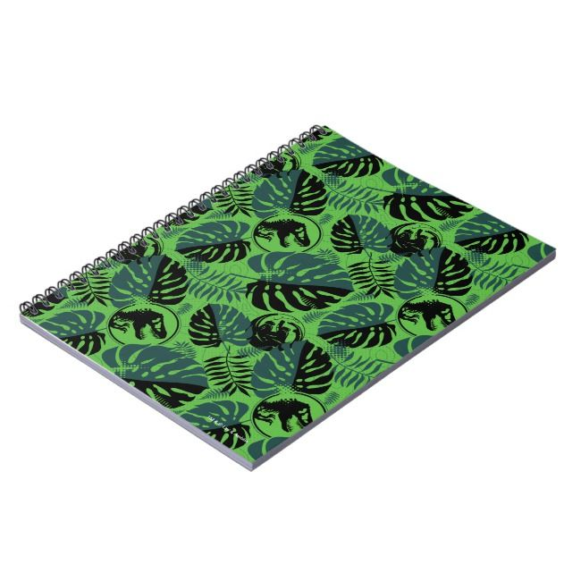 Jurassic World | Green & Black Jungle Pattern Notebook | Zazzle.com #junglepattern