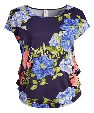 9e46f1f3 Love this Navy & Lime Floral Top - Plus on #zulily! #zulilyfinds ...