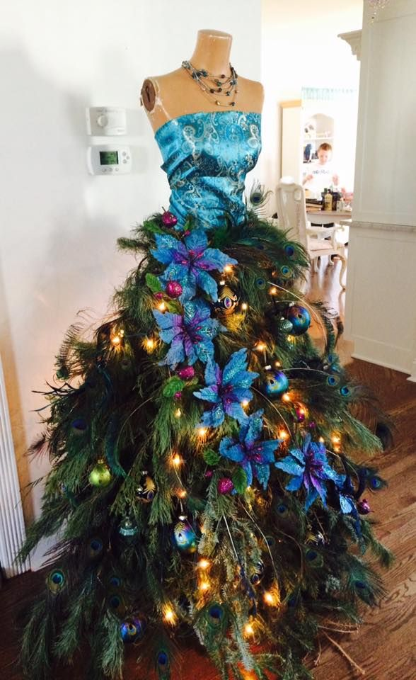 Peacock Dress Form Tree It Was Hand Constructed And Includes Live Greenery The Smell Is D Christmas Tree Dress Dress Form Christmas Tree Christmas Dress