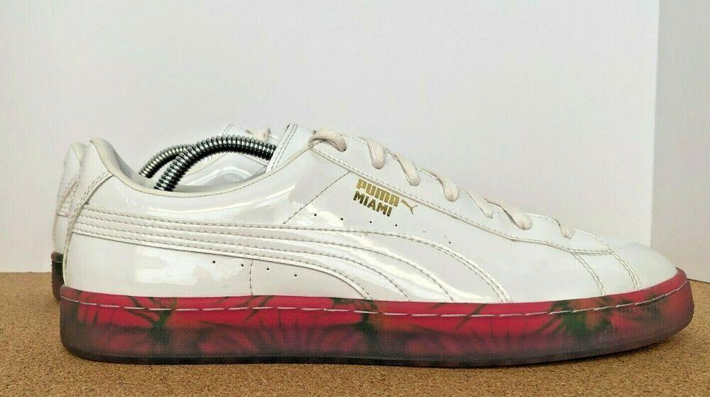 PUMA Basket City MIA Athletic Sneakers White Mens size 11.5