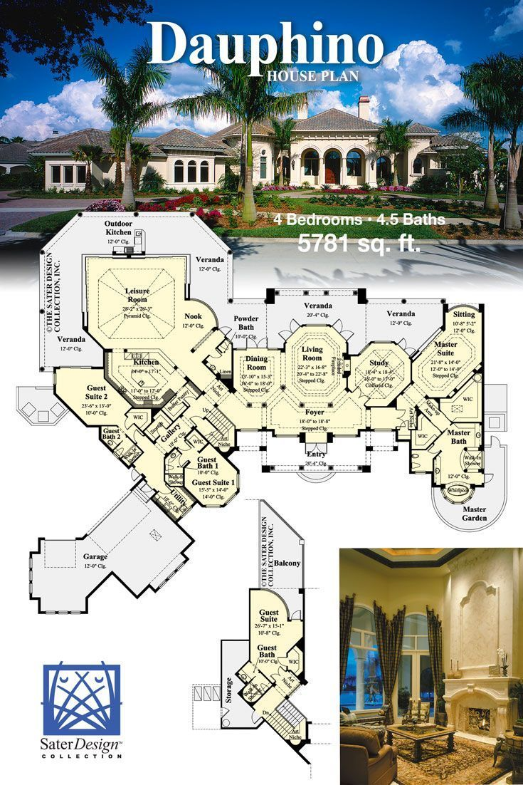 A Sprawling Estate Home Plan Luxury House Designs Floor Plan Design House Plans