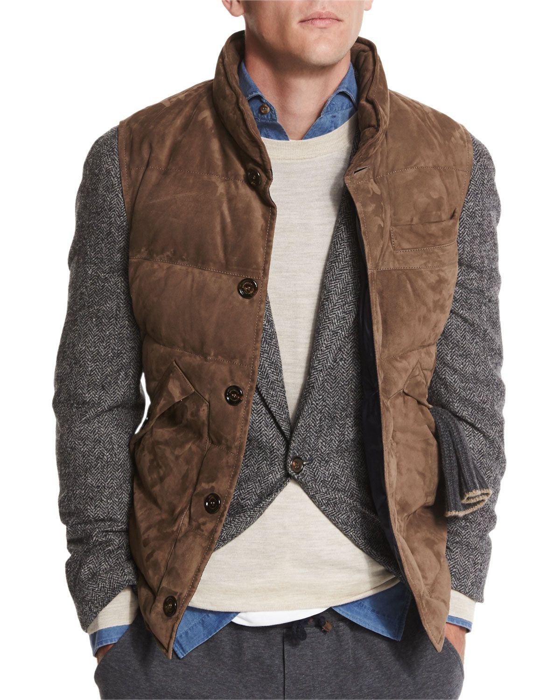 Brunello Cucinelli Quilted Suede Vest Brown Menswear Mens Winter Fashion Suede Vest