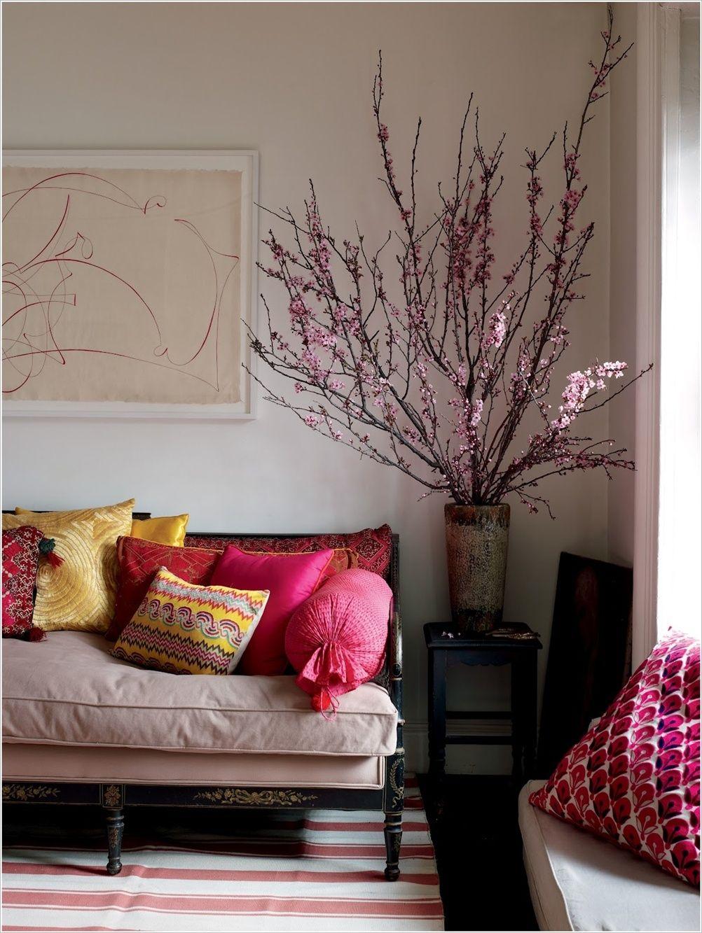Interior Decor With Cherry Blossoms Contemporary Living Room Interior Design Home Deco