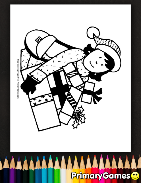 Christmas Coloring Pages Ebook Shopping For Gifts Coloring Pages