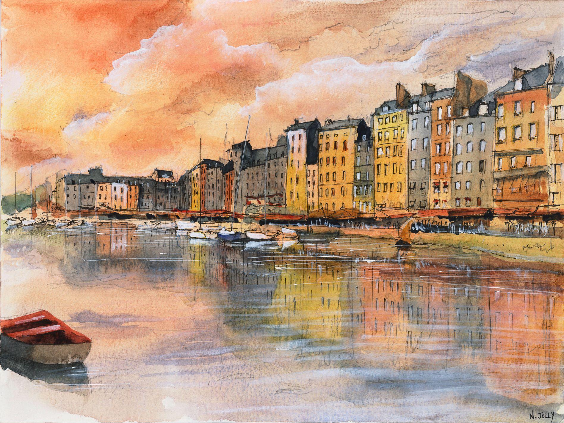 Watercolor aquarelle coucher de soleil sur honfleur for Pinterest aquarell
