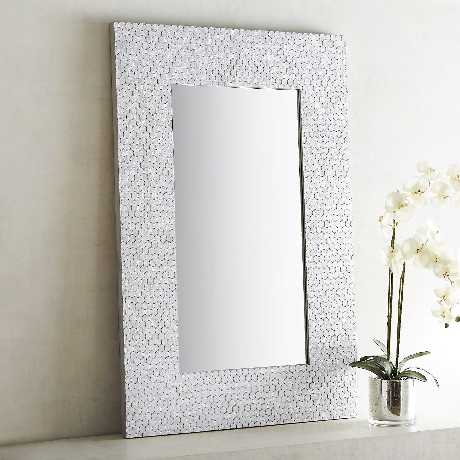 32 X 48 Mirror Part - 43: Shimmer White Capiz 32x48 Mirror