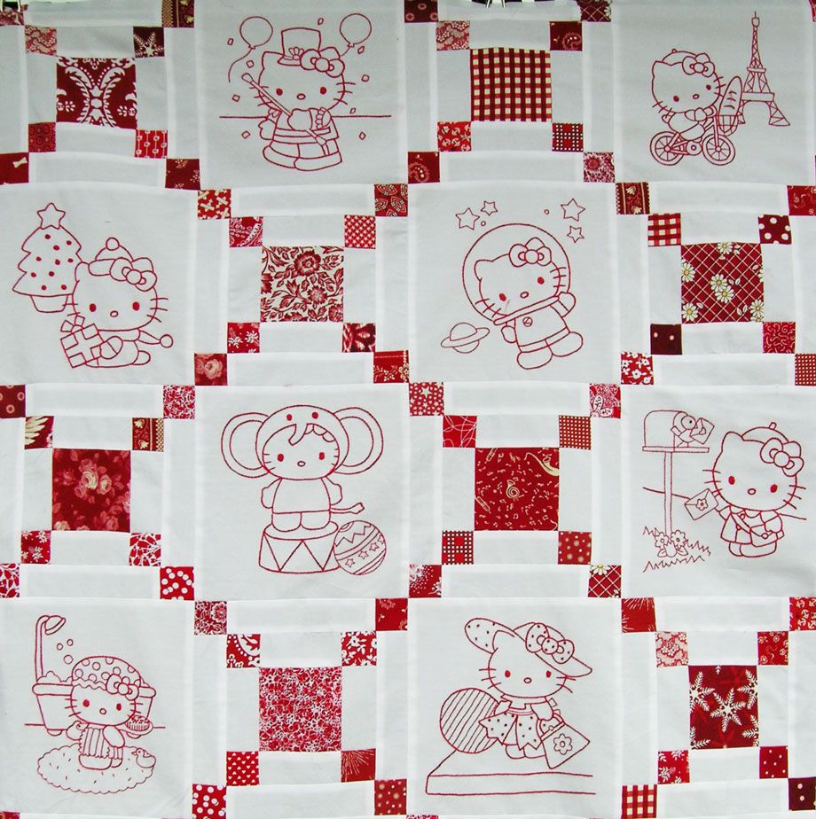 Hello Kitty Quilt - lots of patterns for lots of squares #embroidery ...