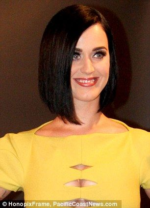 I cut my hair... and I liked it! Katy Perry goes back to black with a sleek bob | Mail Online