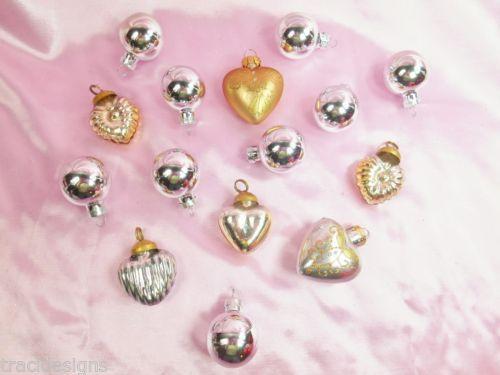 Set 15 Gold Silver Vintage Style Kugel Hearts Balls Glass Ornaments Valentine'S | eBay