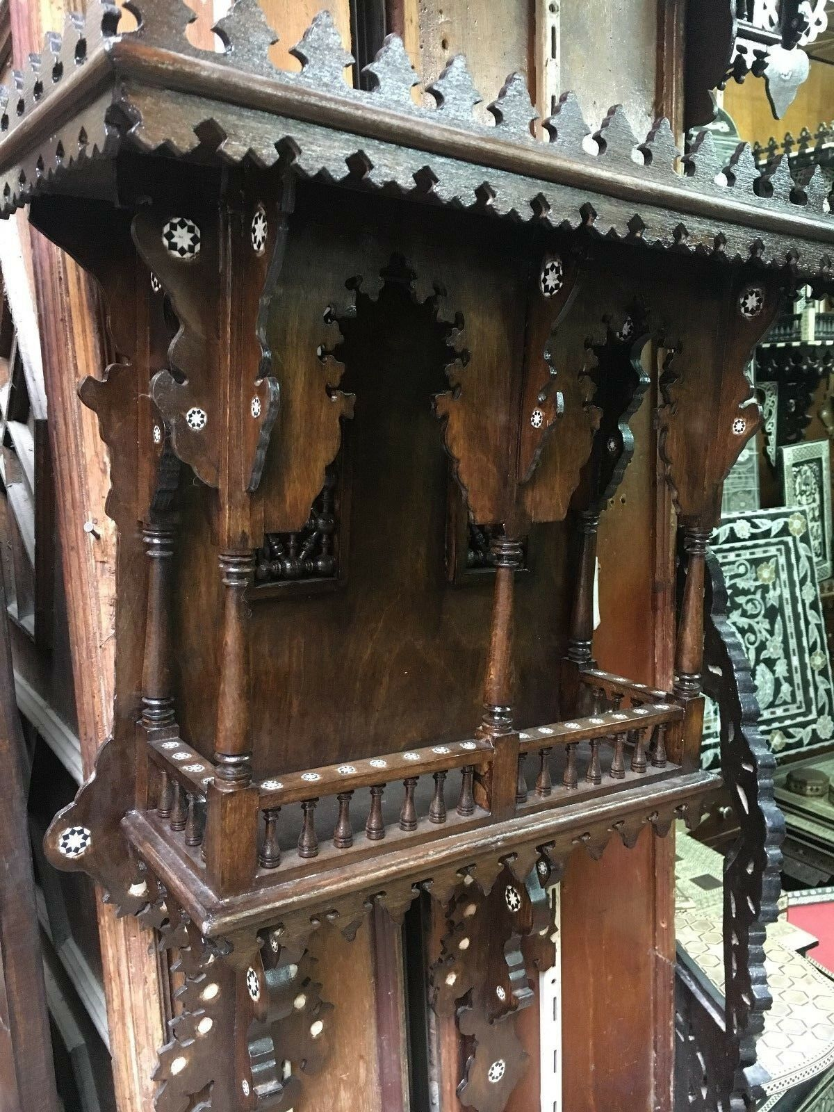 Antique Egyptian Wood Wall Shelf Hand Work Arabesque Inlaid Mother of Pearl