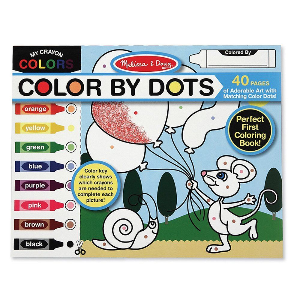 Amazon Com Melissa Doug Color By Dots 40 Pages Includes Color Key For Beginners Melissa Doug Toys Toddler Coloring Book Coloring Books Kits For Kids
