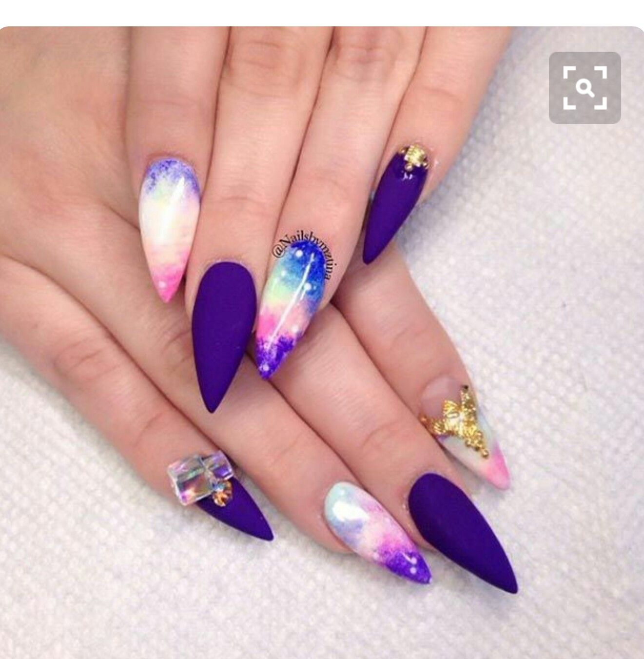 Awesome Galaxy Matte Purple Stiletto Acrylic Nails W Rhinestones Gold Foil