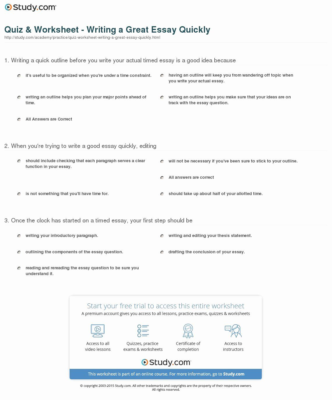 Thesis Statement Practice Worksheet Luxury Quiz