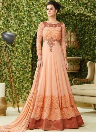 Peach Embroidery Work georgette Layered Long Designer Wedding Fancy ...