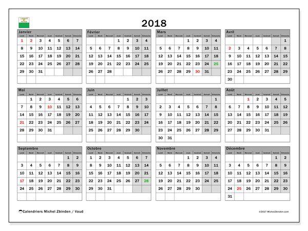 Calendrier 2018, avec les jours fériés du Canton de Vaud