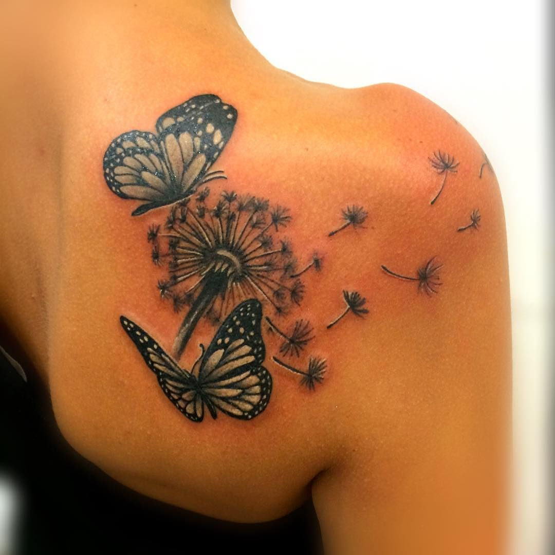 The o jays butterfly tattoos and clothes on pinterest - Dandelion Blowing From Puff With Two Butterflies Tattoo