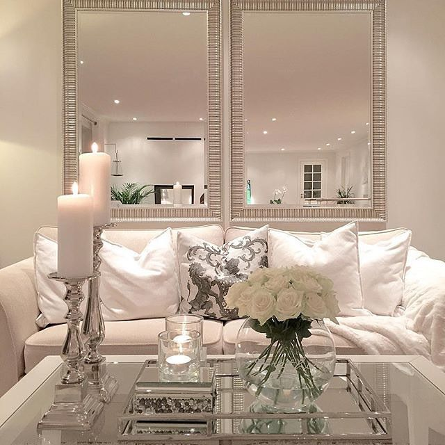 Living room, mirrors behind couch For the Home Pinterest