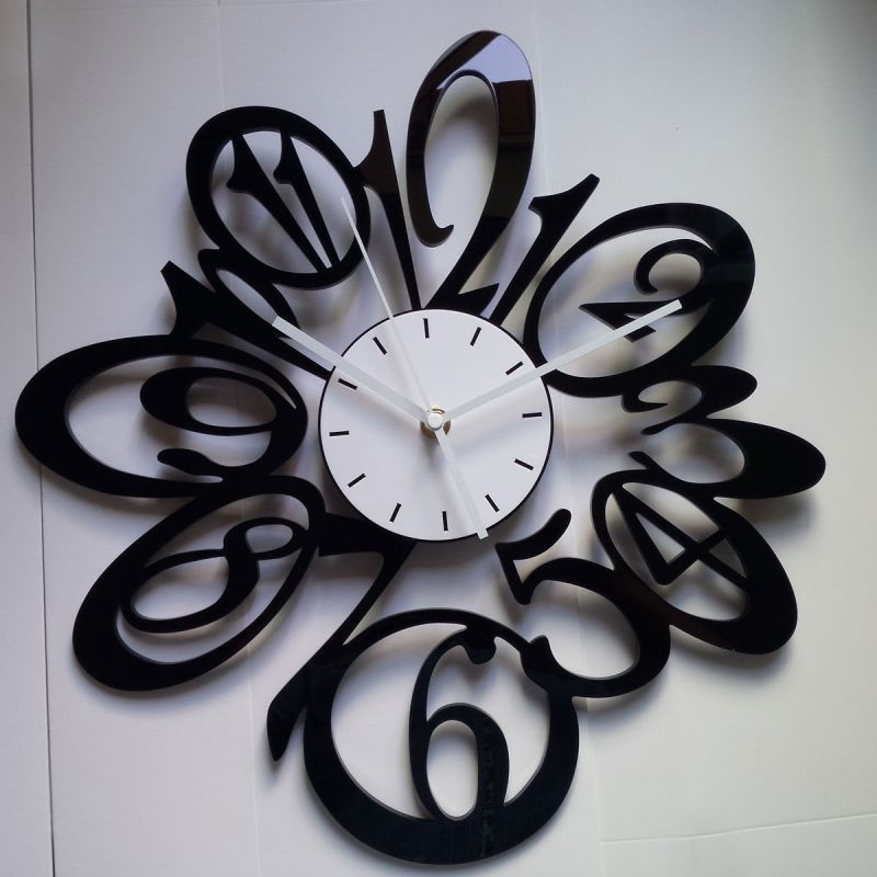 Wall Clocks Modern 15 In Large Black Red White Number Wall Clocks Wall Clocks Decorative Living Room Decor Wall Clock Modern Large Wall Clock Decor Wall Clock