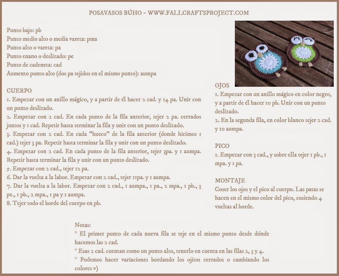 Fall Crafts Project: POSAVASOS DE BÚHO A CROCHET [PATRÓN] ~ CROCHET ...