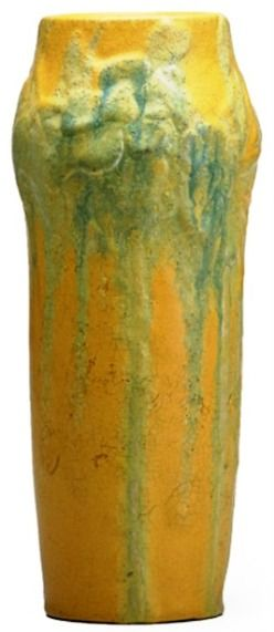 Van Briggle Company   Van Briggle Pottery; Vase, Daffodils, Green & Yellow, Matte Glaze, 10 ...