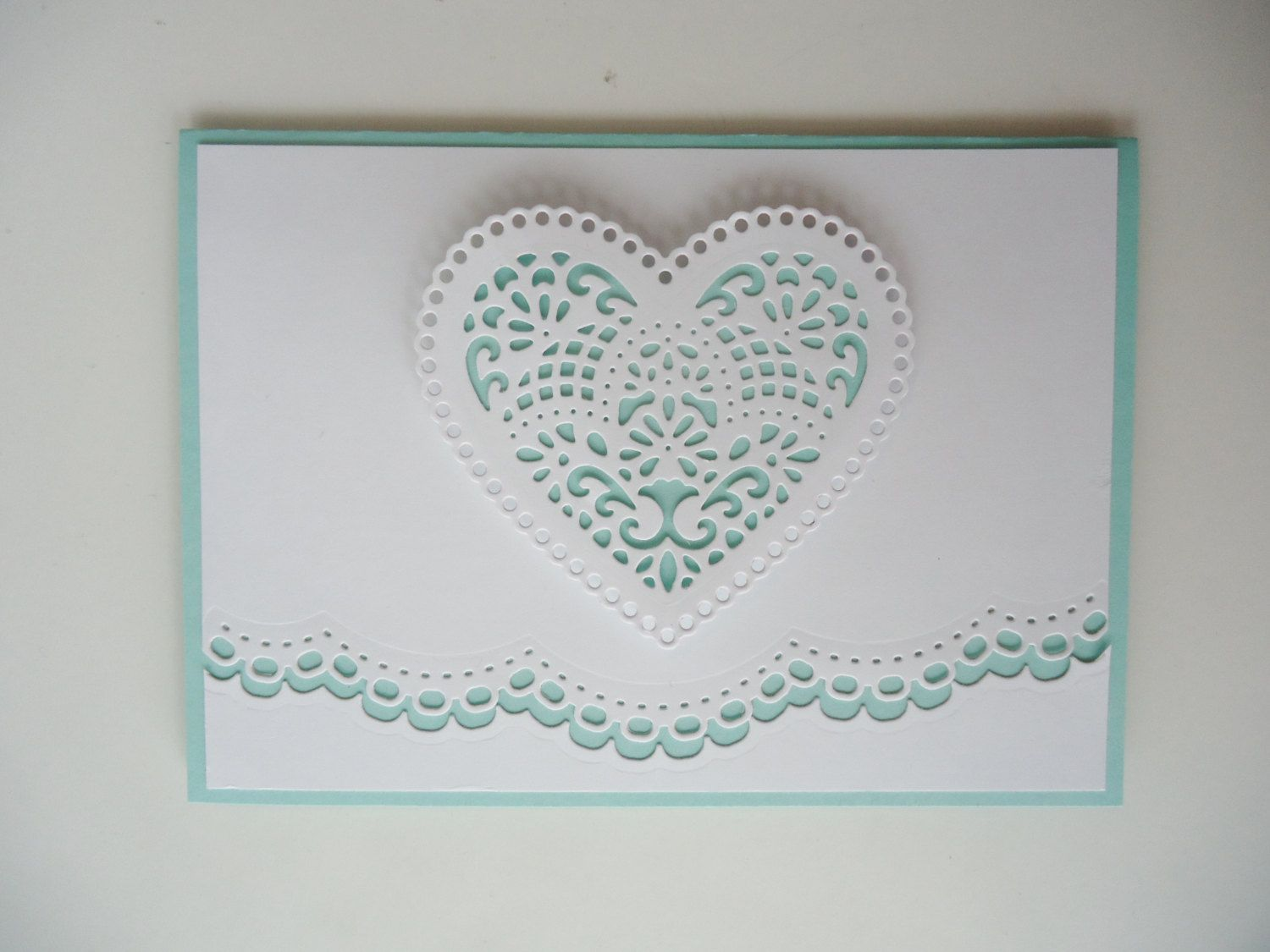 Paper lace wedding card - Congratulations to the Bride & Groom - White and mint green - Can be customized, please ask by JustforUnotes on Etsy https://www.etsy.com/listing/236606145/paper-lace-wedding-card-congratulations