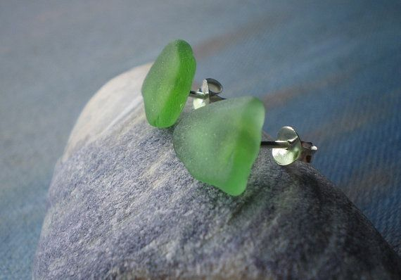 Sterling Silver and Natural Seaglass Studs by glassceiling on Etsy, $13.00