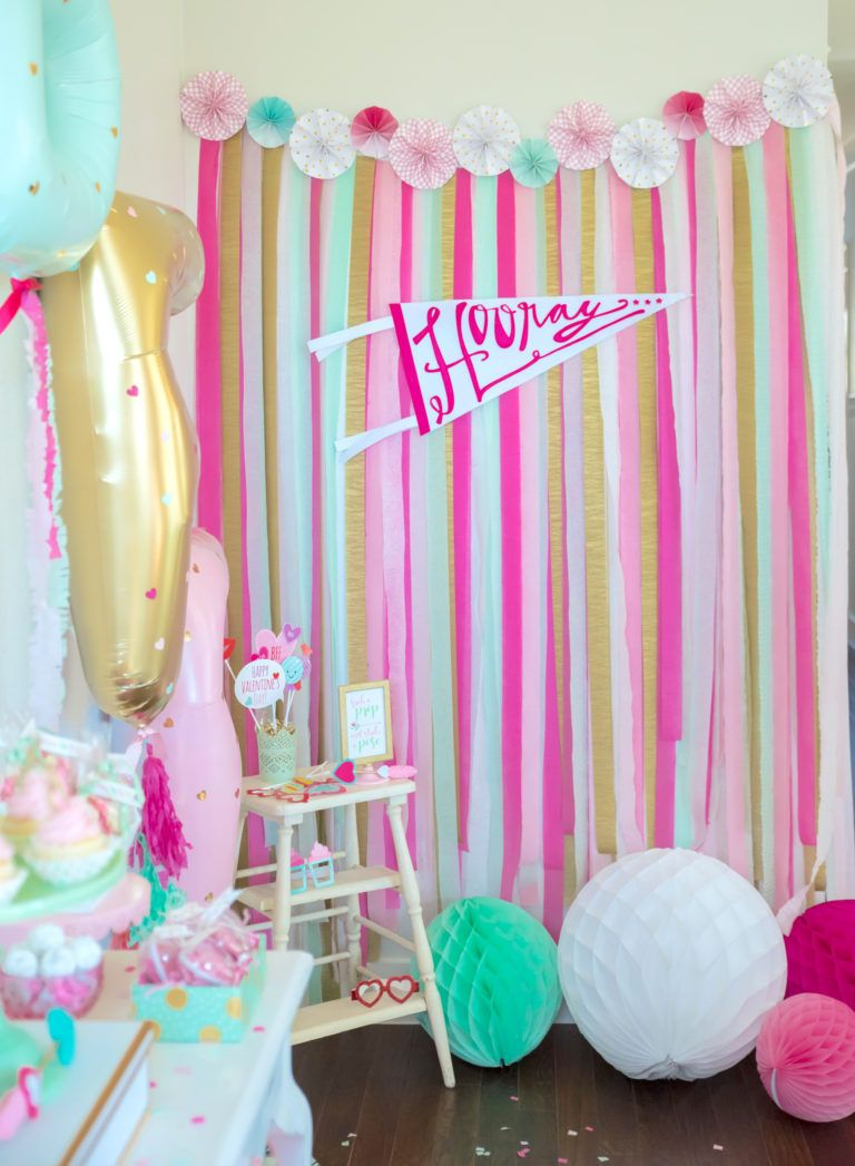 DIY photobooth taken to the next level for this party! The color combo is gorgeous.