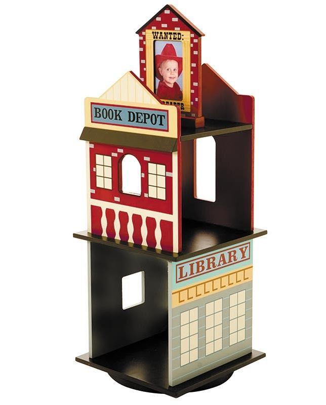 Kids Wild West Revolving Bookcase Children Reading Decor Western Theme