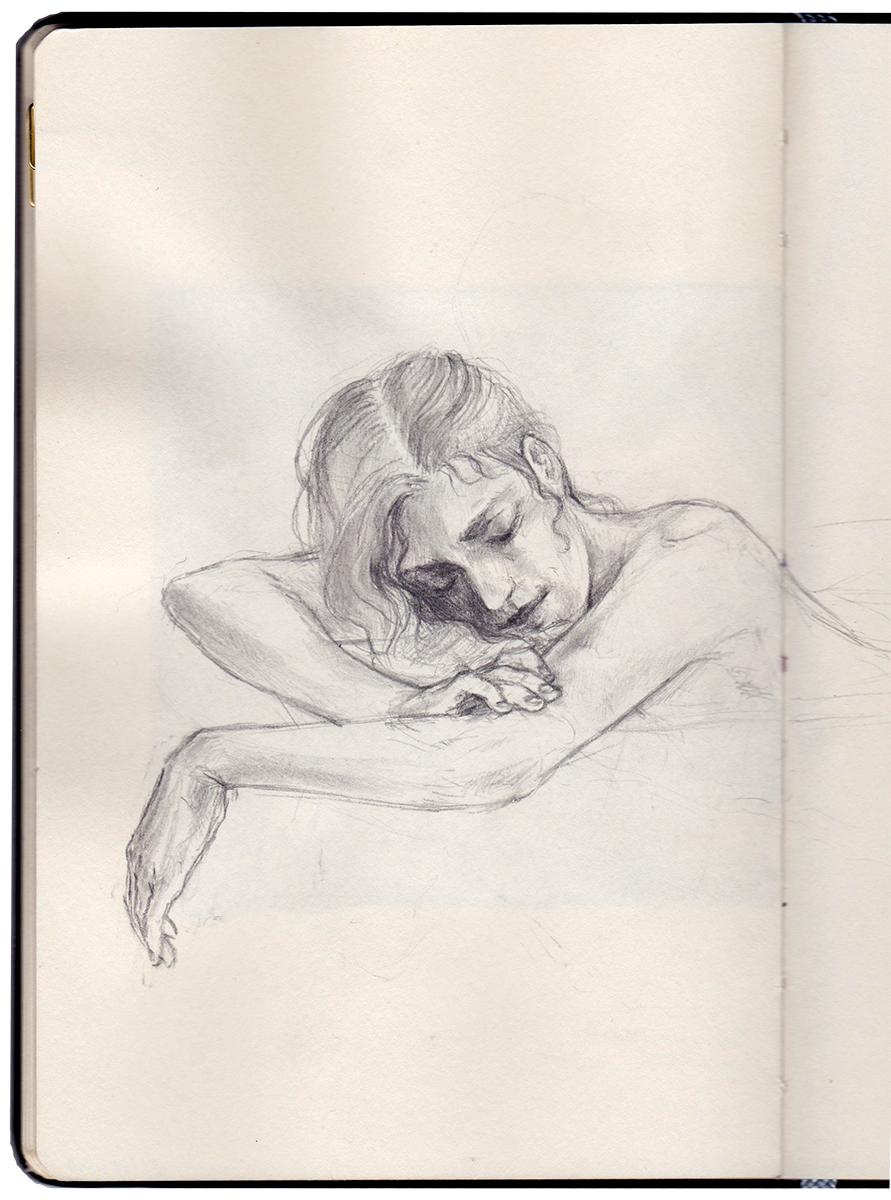 Figue pensée girl drawing sleep sleeping peace woman sketch