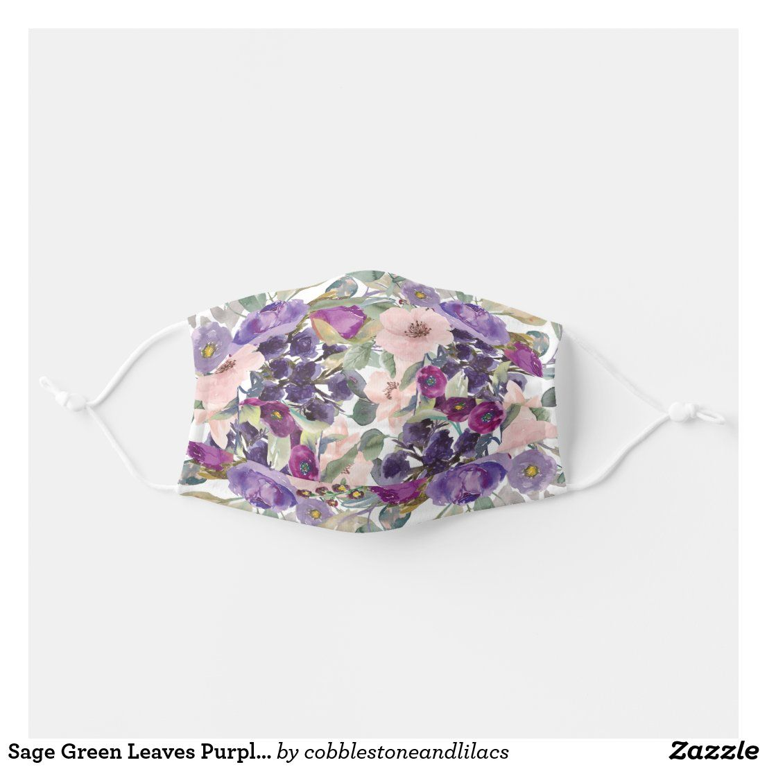 Sage Green Leaves Purple Blush Pink Flowers Adult