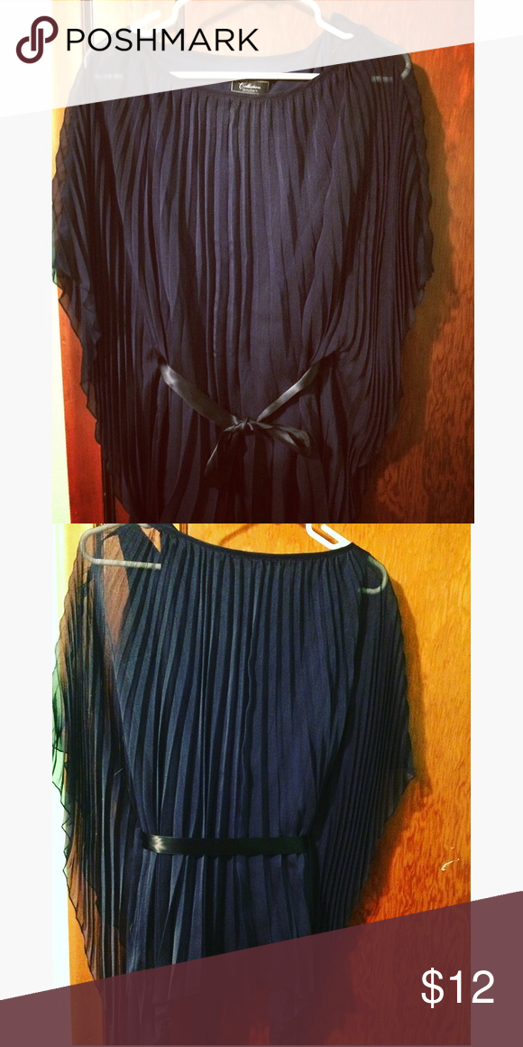 Pleated Butterfly Sleeve Navy Top Navy pleated top with butterfly sleeves and black ribbon waist cinch. Never worn. Dress Barn Tops Blouses