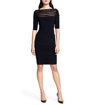 Adrianna Papell Sheer-Yoke Pintuck Dress