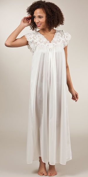 Shadowline Silhouette Flutter Sleeves Long Night Gown in Ivory ...