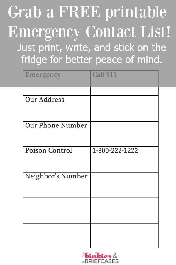 Free Printable Emergency Contact List Binkies And Briefcases Emergency Contact List Contact List Emergency Contact