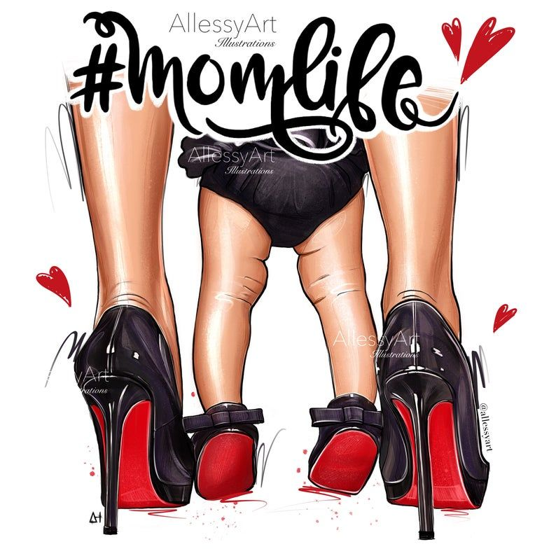 Photo of Mother and daughter Clipart, Digital fashion illustration laubutine shoes clip art, instant download momlife, different skin color
