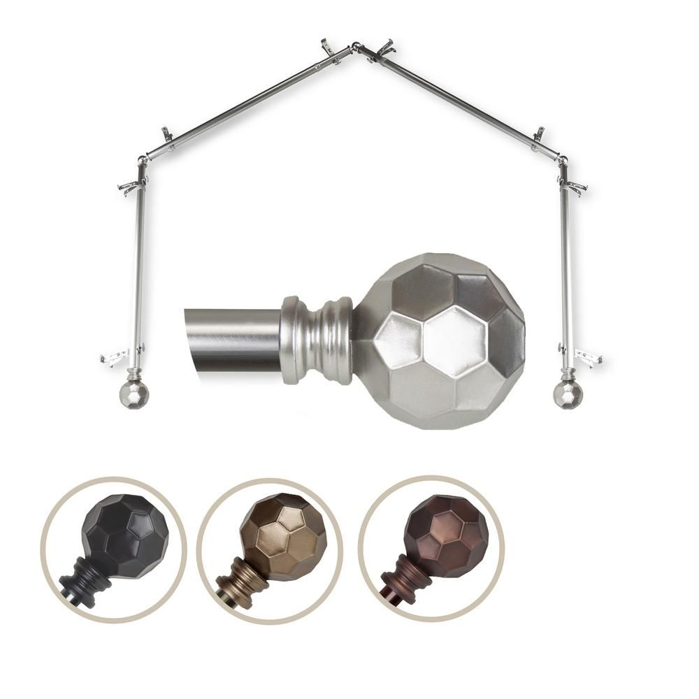 Emoh 13 16 Dia Adjustable 4 Sided Bay Window Curtain Rod 28 To 48 Each Side In Satin Nickel With Elliana Finials Curtain Rods Bay Window Curtain Rod Window Curtain Rods