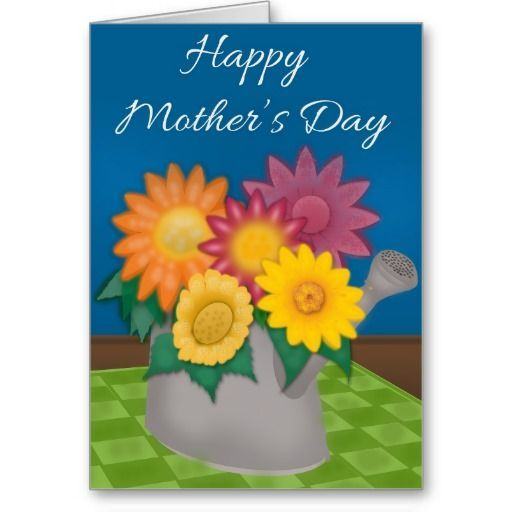 Colorful Flowers in Watering Can Mother's Day Card