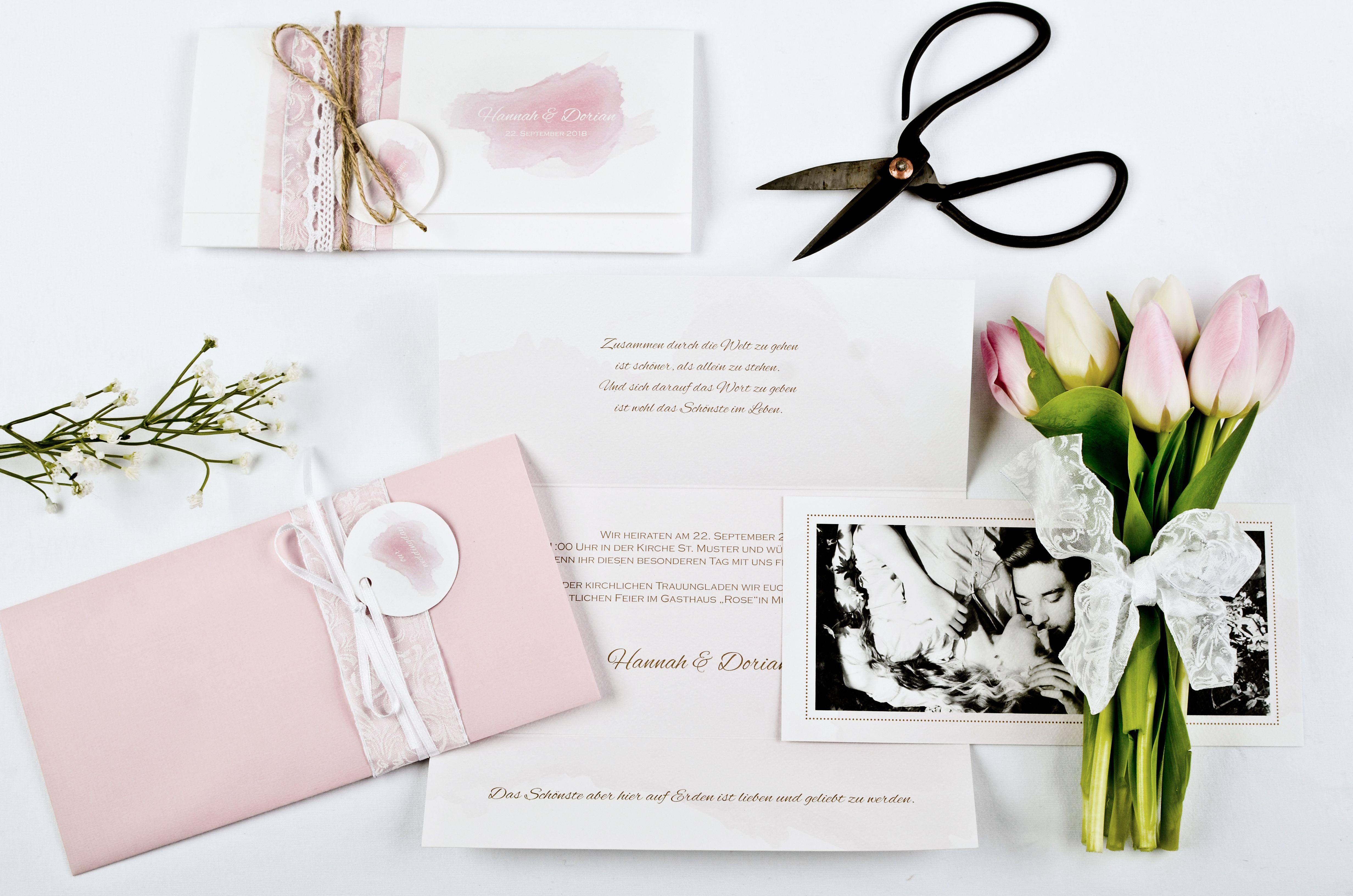 Wunderschöne Hochzeitseinladung im Wasserfarbe Design in Rosa im ...
