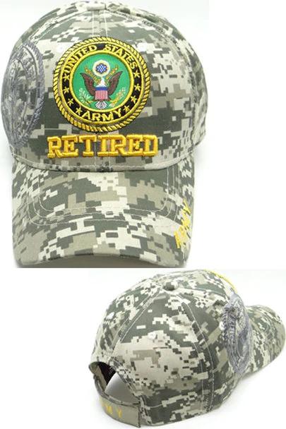 Retired US Army Camouflage Baseball Cap ACU Digital Camo Military Hat Adjustable