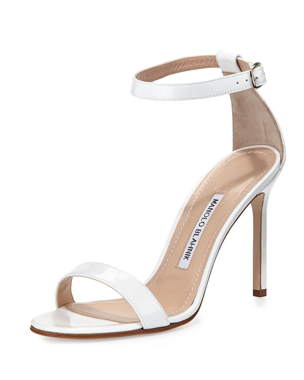 d05bb1d0072eb Manolo Blahnik Chaos Patent Leather Sandal, White, Size: 10 1/2B ...