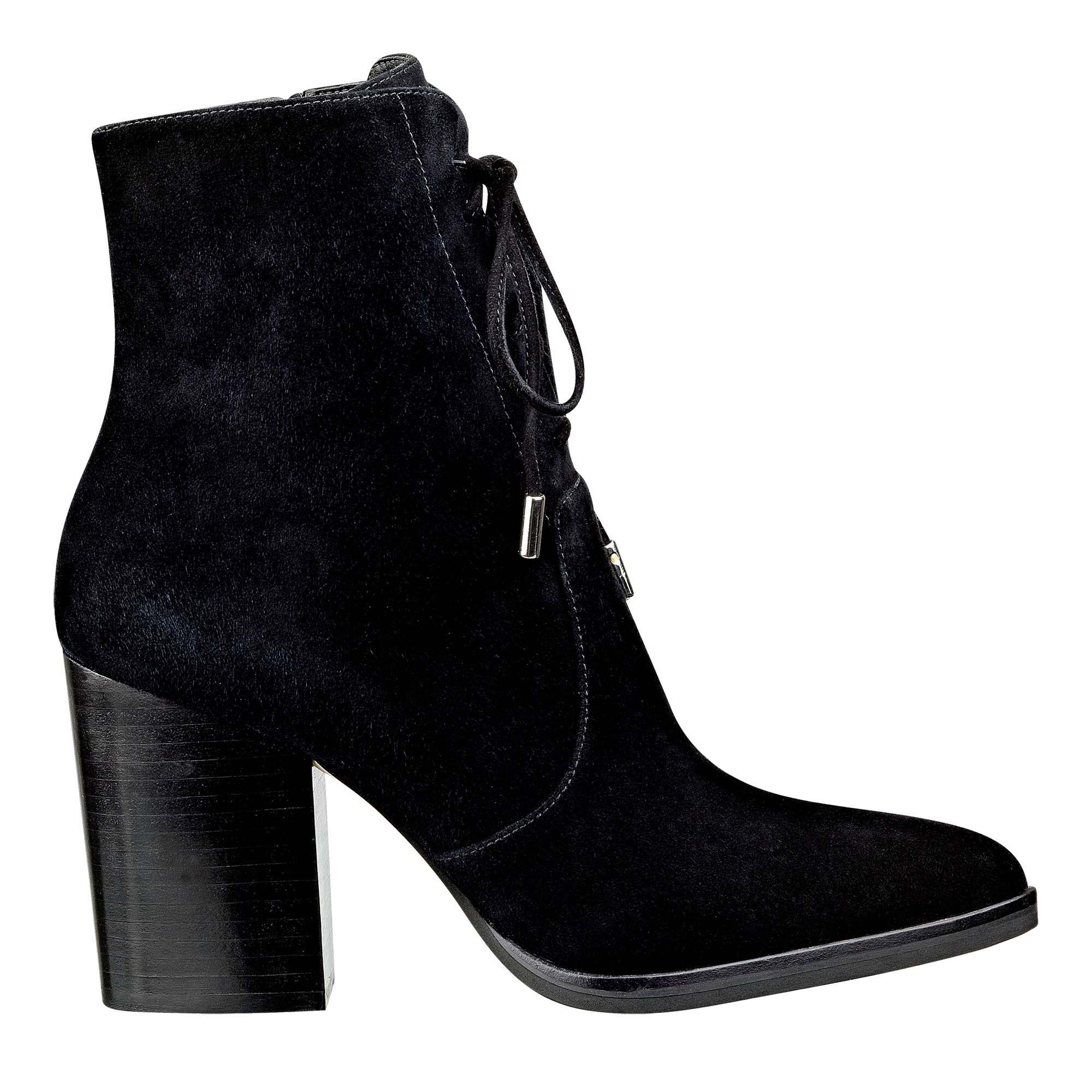 A high-ankle silhouette with stacked heel make for a polished lace-up bootie.