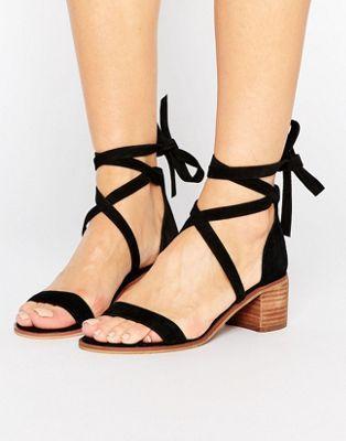 5a2f17c9c18 Steve Madden Rizzaa Suede Tie Block Heeled Sandals